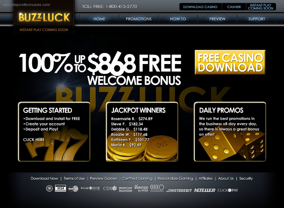 buzzluck casino coupon code