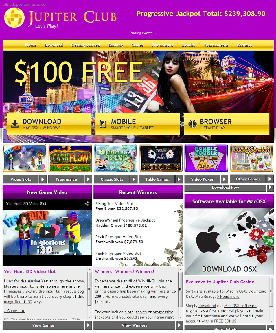 jupiter club casino no deposit bonus