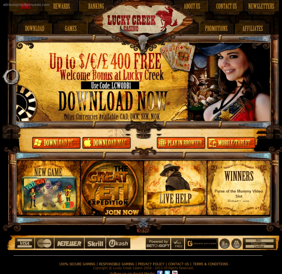 Lucky Creek Casino Online Review With Promotions & Bonuses