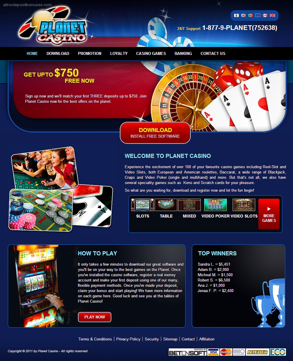 Planet Casino No Deposit Bonus Codes