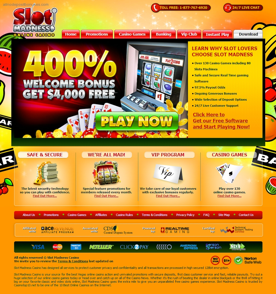 slot madness casino no deposit bonus